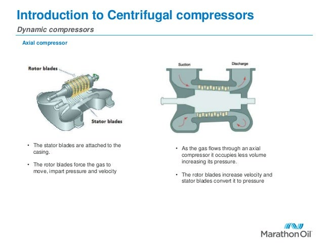 Introduction to Centrifugal compressors Dynamic compressors Axial compressor • The stator blades are attached to the casin...