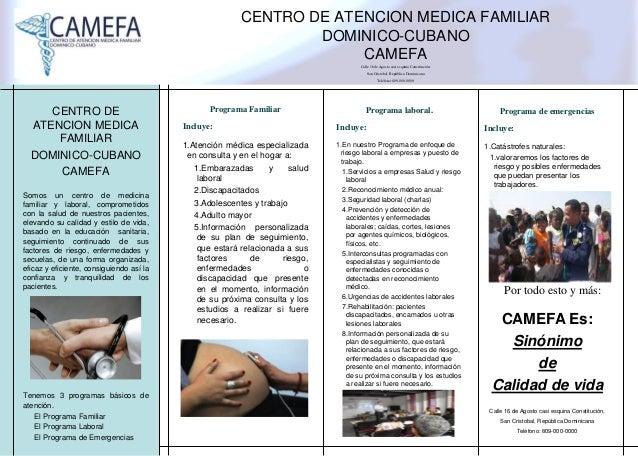 CENTRO DE ATENCION MEDICA FAMILIAR DOMINICO-CUBANO CAMEFA Calle 16 de Agosto casi esquina Constitución, San Cristobal, Rep...