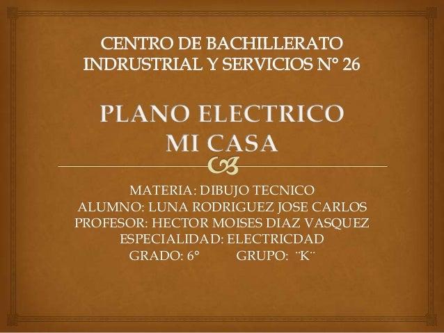 MATERIA: DIBUJO TECNICO ALUMNO: LUNA RODRIGUEZ JOSE CARLOS PROFESOR: HECTOR MOISES DIAZ VASQUEZ ESPECIALIDAD: ELECTRICDAD ...