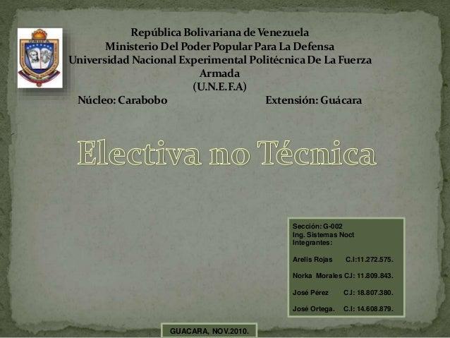 RepúblicaBolivarianadeVenezuela Ministerio Del PoderPopularPara LaDefensa Universidad Nacional Experimental PolitécnicaDe ...