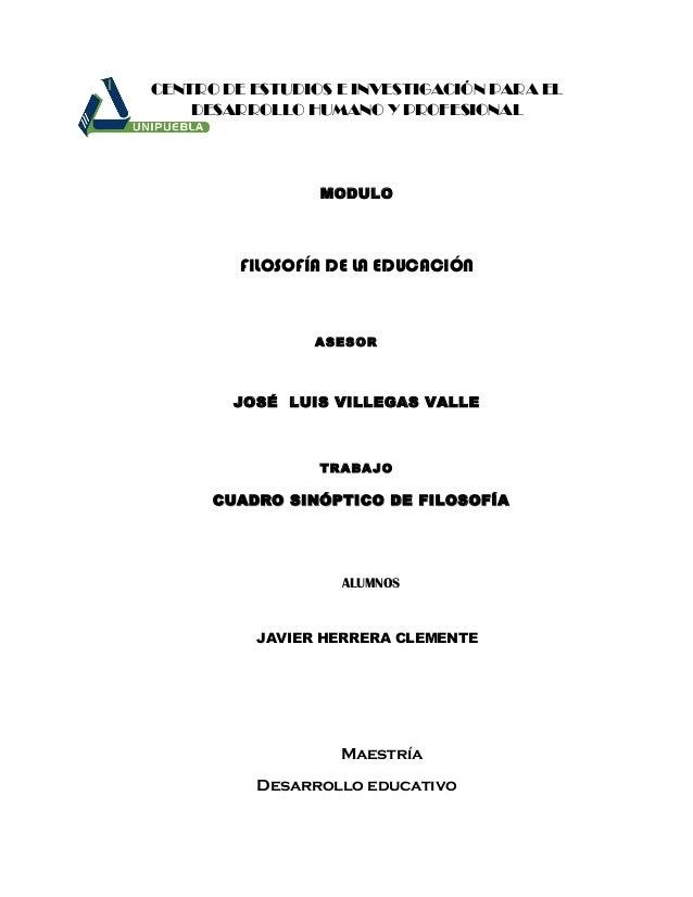 CENTRO DE ESTUDIOS E INVESTIGACIÓN PARA ELDESARROLLO HUMANO Y PROFESIONALMODULOFILOSOFÍA DE LA EDUCACIÓNASESORJOSÉ LUIS VI...