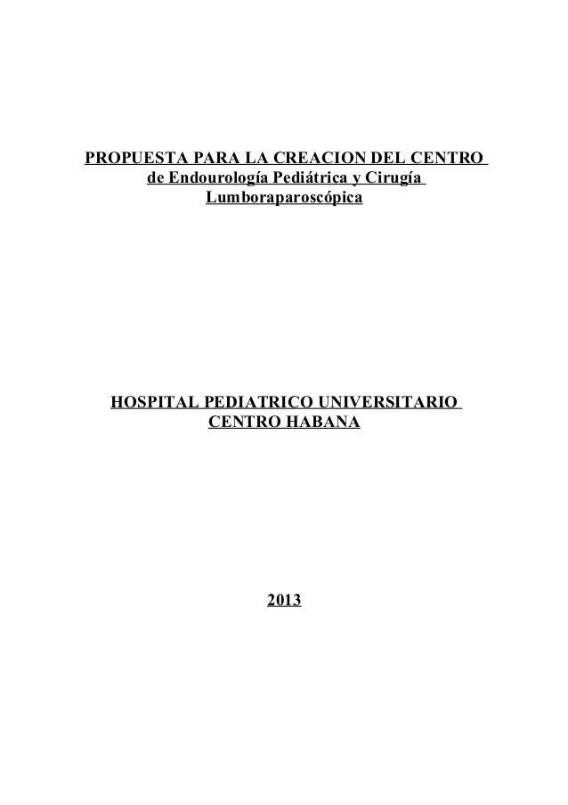 PROPUESTA PARA LA CREACION DEL CENTRO de Endourología Pediátrica y Cirugía Lumboraparoscópica  HOSPITAL PEDIATRICO UNIVERS...