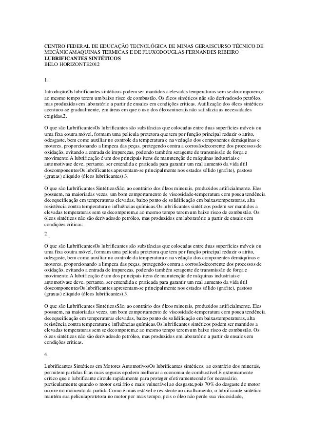 CENTRO FEDERAL DE EDUCAÇÃO TECNOLÓGICA DE MINAS GERAISCURSO TÉCNICO DEMECÂNICAMAQUINAS TERMICAS E DE FLUXODOUGLAS FERNANDE...