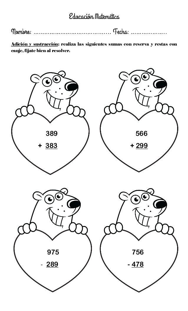 Adición y sustracción: realiza las siguientes sumas con reserva y restas con canje, fíjate bien al resolver. 389 566 + 383...