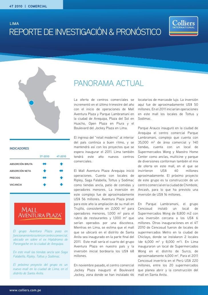 4T 2010 | comercialLimaREPORTE DE INVESTIGACIÓN & PRONÓSTICO                                               PANORAMA ACTUAL...
