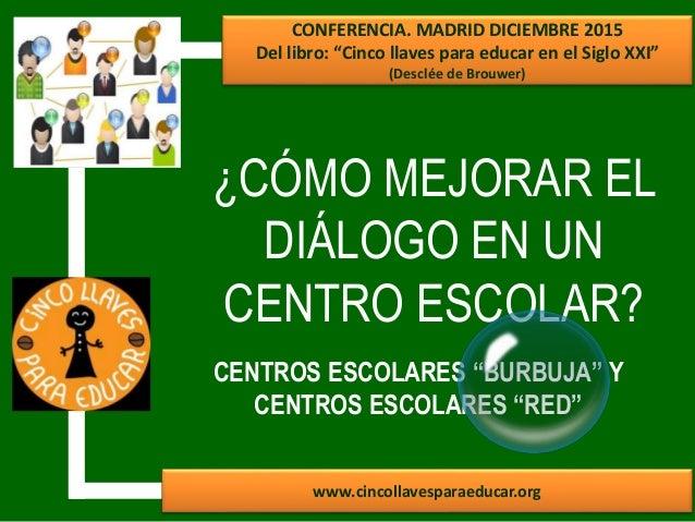 ¿CÓMO MEJORAR EL DIÁLOGO EN UN CENTRO ESCOLAR? www.cincollavesparaeducar.org CONFERENCIA. MADRID DICIEMBRE 2015 Del libro:...