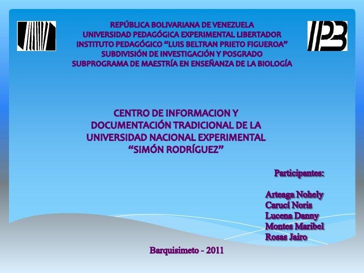 CENTRO DE INVESTIGACIÓN Y DOCUMENTACIÓN SIMÓN RODRÍGUEZ