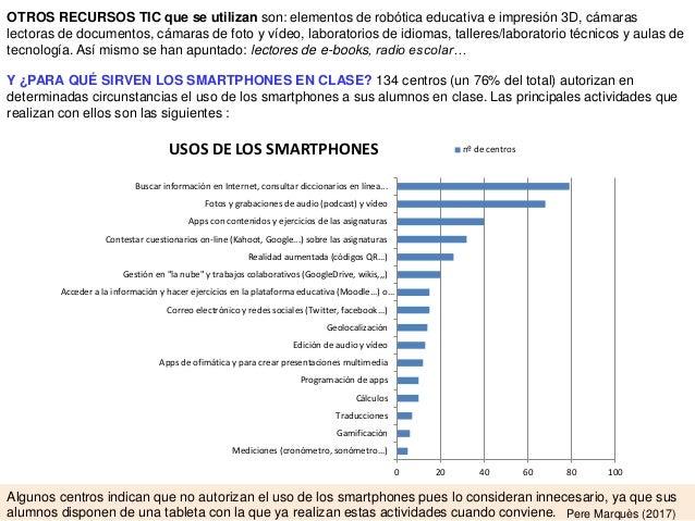 Y ¿PARA QUÉ SIRVEN LOS SMARTPHONES EN CLASE? 134 centros (un 76% del total) autorizan en determinadas circunstancias el us...