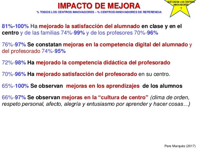 Pere Marquès (2017) IMPACTO DE MEJORA % TODOS LOS CENTROS INNOVADORES – % CENTROS INNOVADORES DE REFERENCIA 81%-100% Ha me...