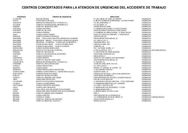 CENTROS CONCERTADOS PARA LA ATENCION DE URGENCIAS DEL ACCIDENTE DE TRABAJO PROVINCIA CENTRO DE URGENCIAS DIRECCION A CORUÑ...