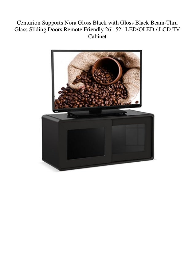 """Centurion Supports Nora Gloss Black with Gloss Black Beam-Thru Glass Sliding Doors Remote Friendly 26""""-52"""" LED/OLED / LCD ..."""