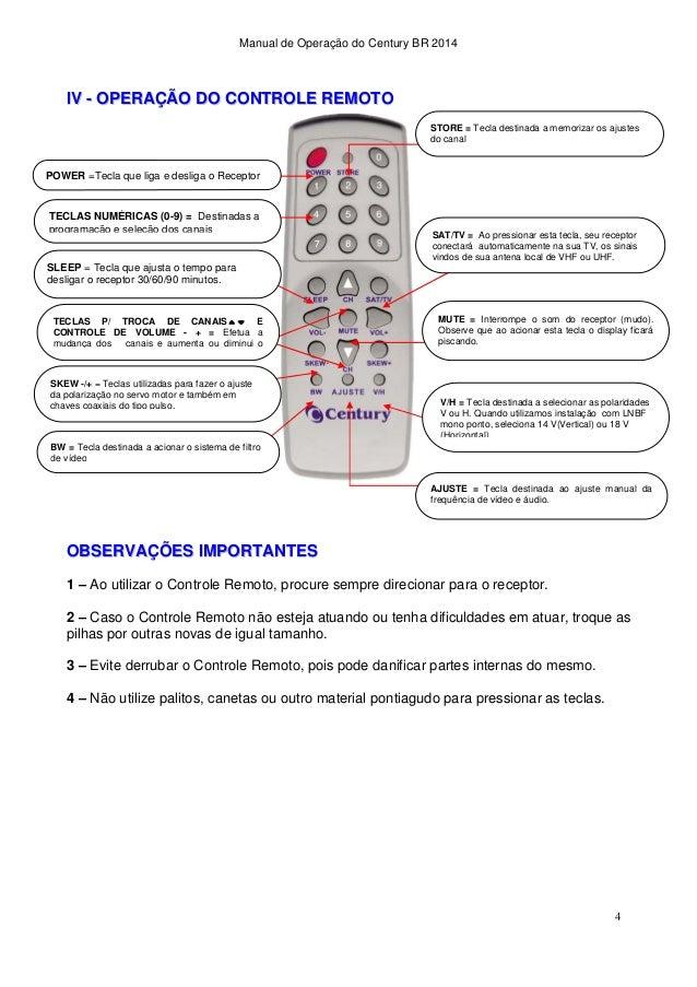 Manual de instalação do Receptor de Antena Parabólica