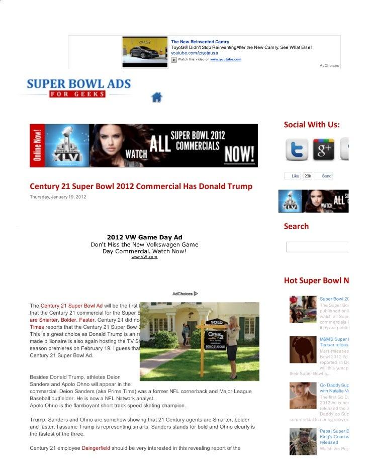 Century 21 super bowl 2012 commercial has donald trump   super bowl ads for geeks