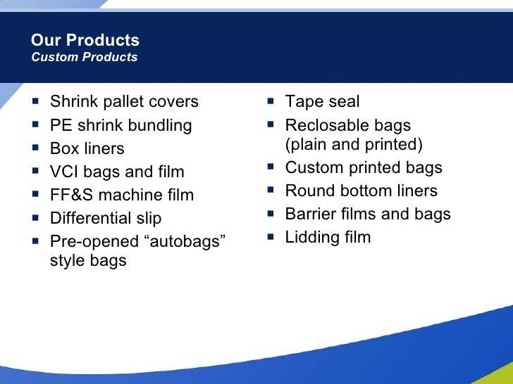 Our Products Custom Products <ul><li>Shrink pallet covers  </li></ul><ul><li>PE shrink bundling </li></ul><ul><li>Box line...