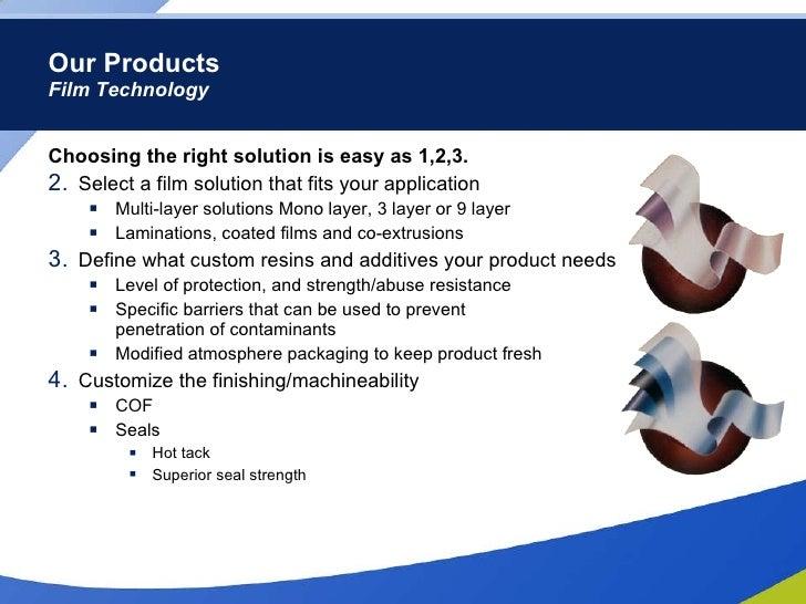 Our Products Film Technology <ul><li>Choosing the right solution is easy as 1,2,3. </li></ul><ul><li>Select a film solutio...