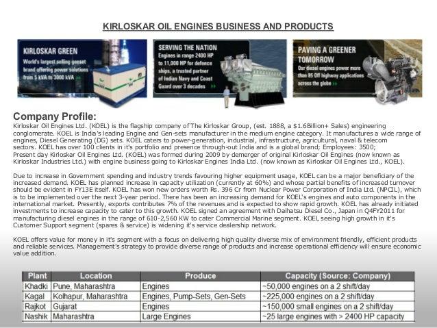 Century Partners Kirloskar Oil Engines Ltd Aug 2012