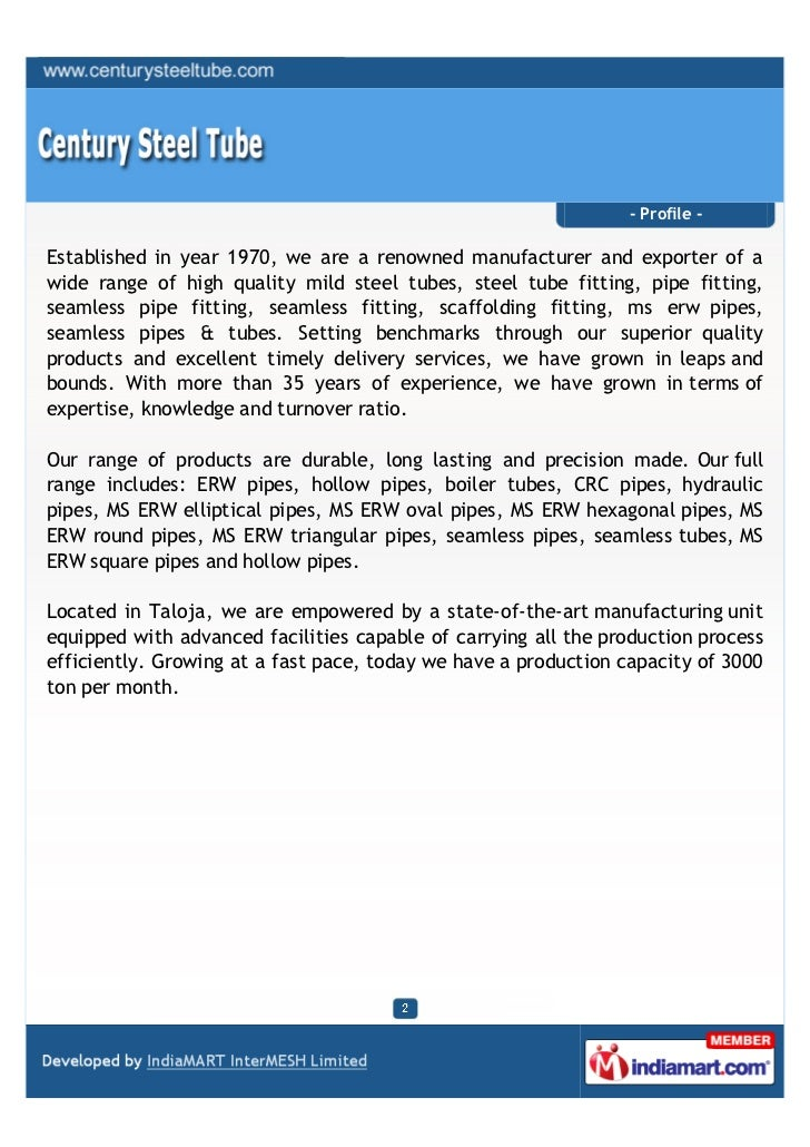 - Profile -Established in year 1970, we are a renowned manufacturer and exporter of awide range of high quality mild steel...