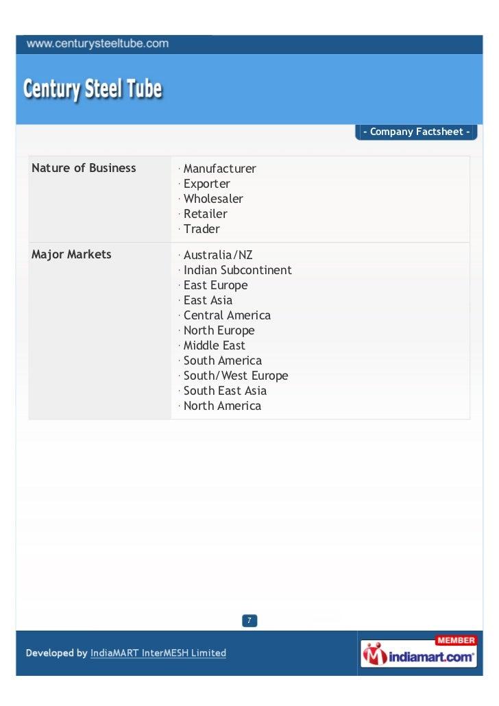 - Company Factsheet -Nature of Business   Manufacturer                     Exporter                     Wholesaler        ...