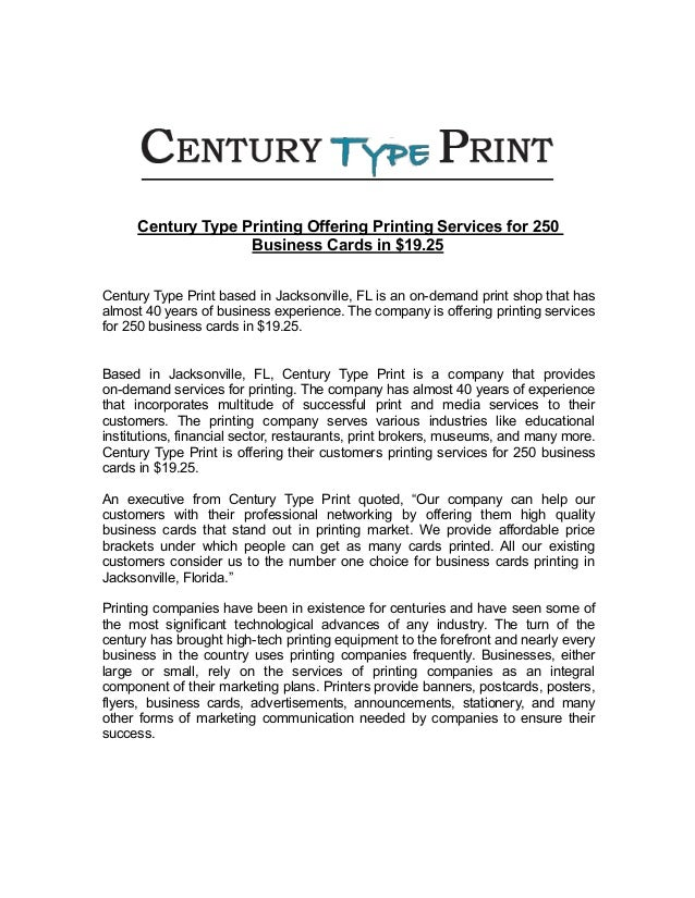 Century type printing offering printing services for 250 business car century type printing offering printing services for 250 business cards in 1925 century type print based reheart Choice Image