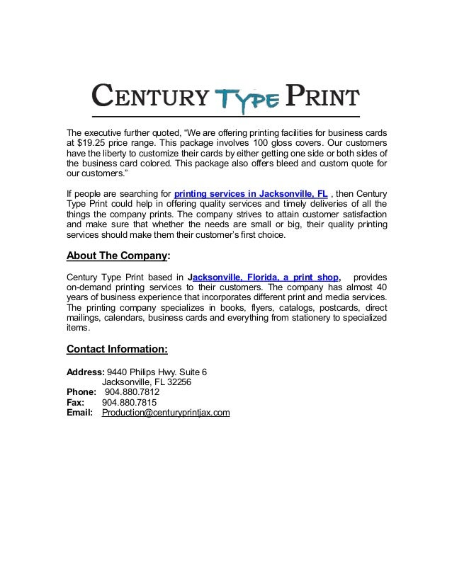 Century type printing offering printing services for 250 business car 2 reheart Choice Image