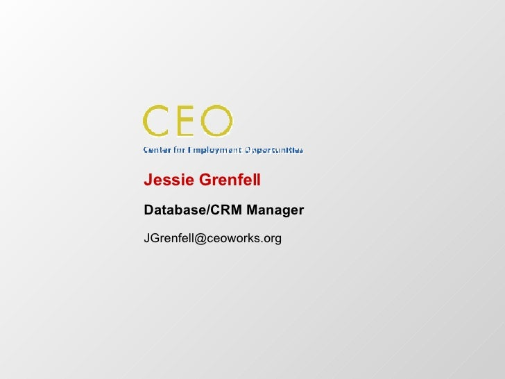 Jessie Grenfell Database/CRM Manager [email_address]