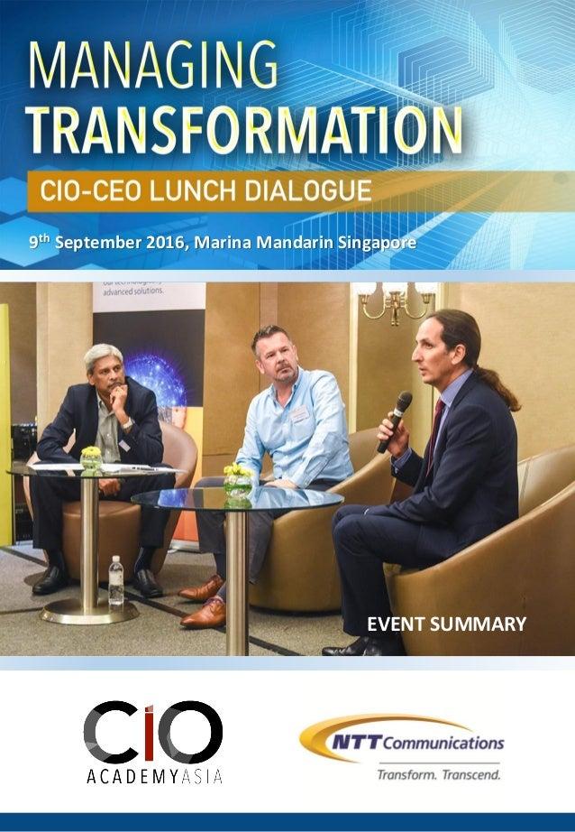 EVENT SUMMARY 9th September 2016, Marina Mandarin Singapore