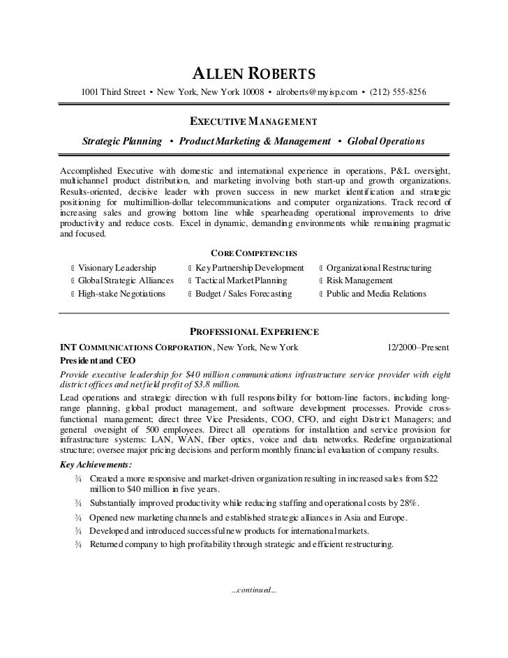 CEO Resume Sample. ALLEN ROBERTS 1001 Third Street U2022 New York, New York  10008 U2022 Alroberts@myisp ...  Ceo Resume Examples