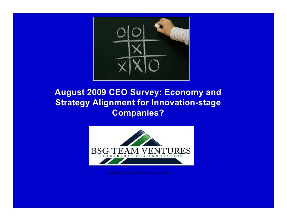 August 2009 CEO Survey: Economy and Strategy Alignment for Innovation-stage               Companies?                 Copyr...