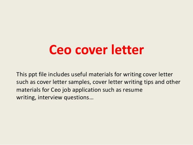 sample ceo cover letter