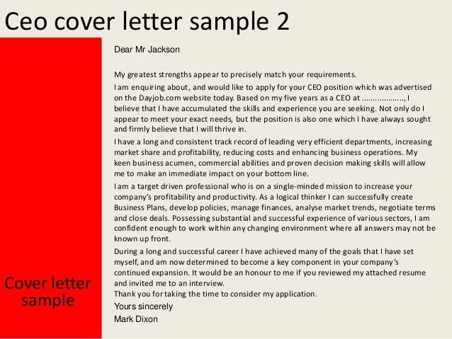 Ceo Cover Letter Sample