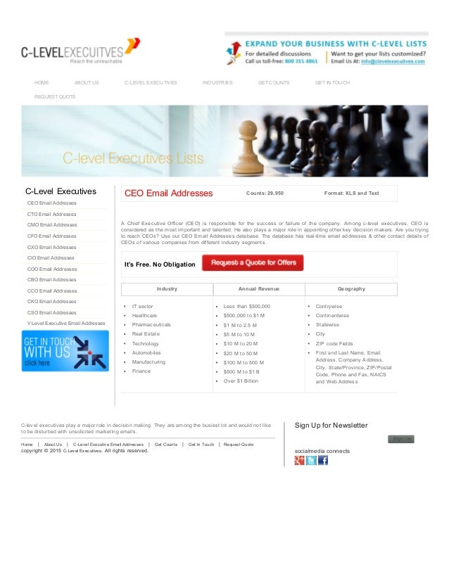 CEO Email List CEO Mailing Lists