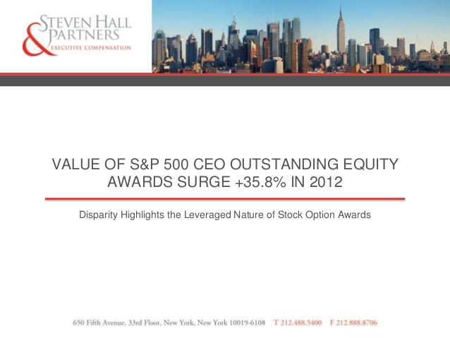 VALUE OF S&P 500 CEO OUTSTANDING EQUITY      AWARDS SURGE +35.8% IN 2012   Disparity Highlights the Leveraged Nature of St...
