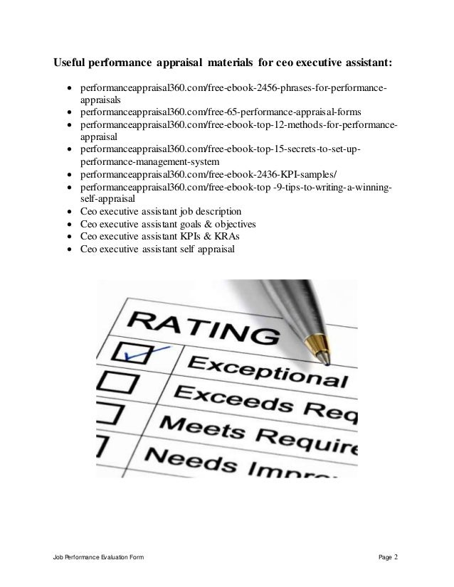 Ceo executive assistant performance appraisal fandeluxe Image collections