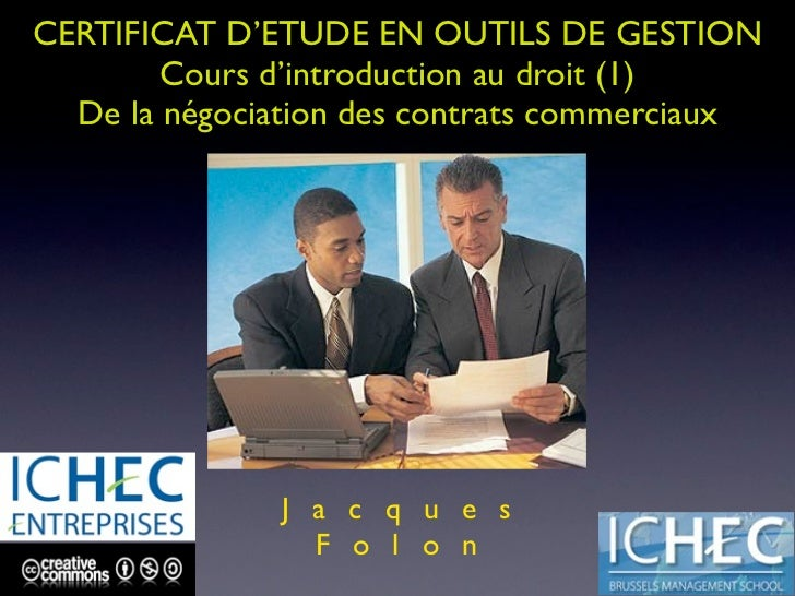 CEOG ICHEC ENTREPRISES - NEGOCIATION CONTRACTUELLE