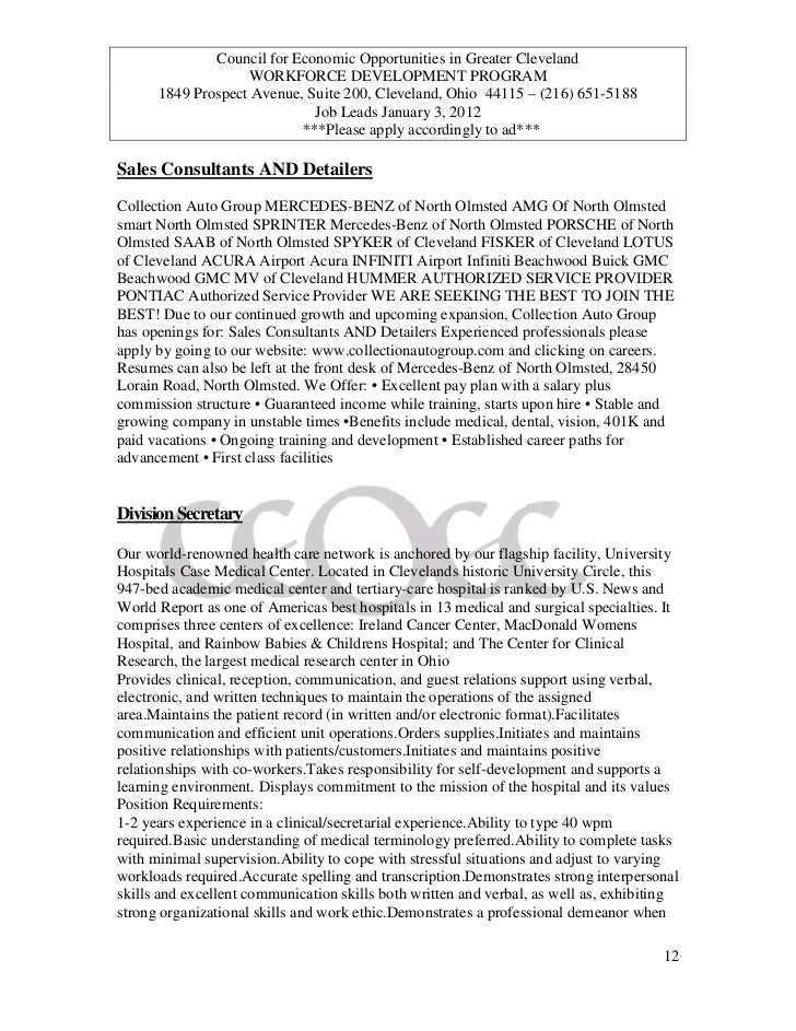 Ceogc job leads jan 3 20122 2 for Mercedes benz of north olmsted service