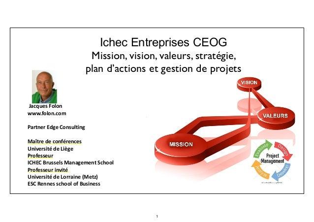 Ichec Entreprises CEOG Mission, vision, valeurs, stratégie, plan d'actions et gestion de projets   Jacques  Folon   ...