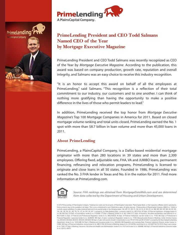 PrimeLending President and CEO Todd SalmansNamed CEO of the Yearby Mortgage Executive MagazinePrimeLending President and C...