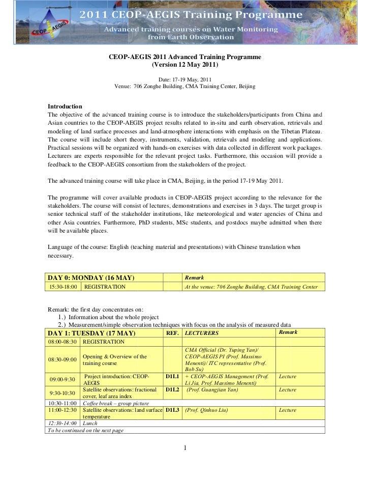 CEOP-AE                                 EGIS 2011 A                                           Advanced Training Programme ...