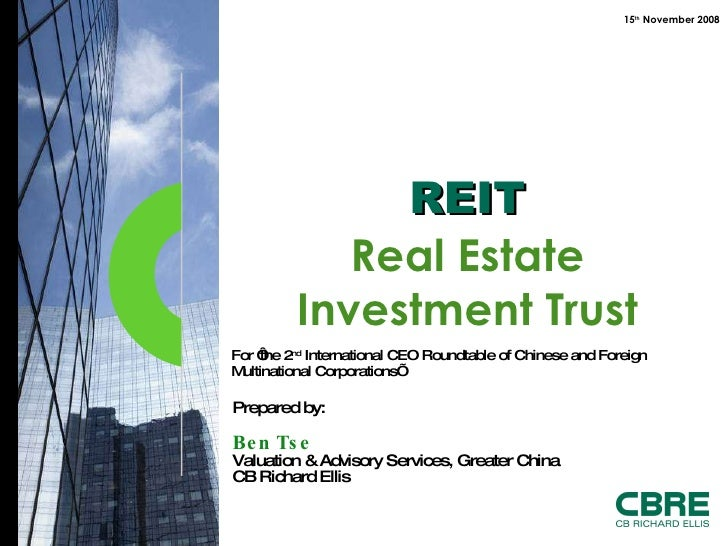 For 'the 2 nd  International CEO Roundtable of Chinese and Foreign Multinational Corporations'  REIT Real Estate Investmen...