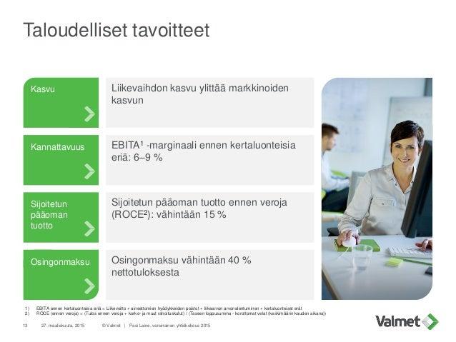 Taloudelliset tavoitteet 27. maaliskuuta, 2015 © Valmet   Pasi Laine, varsinainen yhtiökokous 201513 Kannattavuus Kasvu Si...