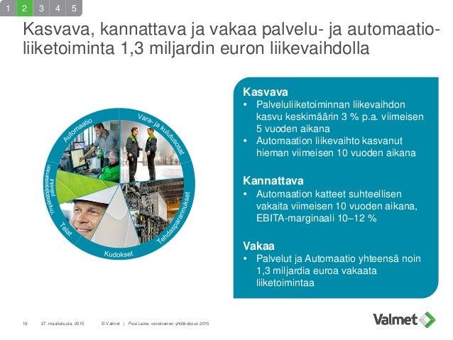 Kasvava, kannattava ja vakaa palvelu- ja automaatio- liiketoiminta 1,3 miljardin euron liikevaihdolla 19 27. maaliskuuta, ...