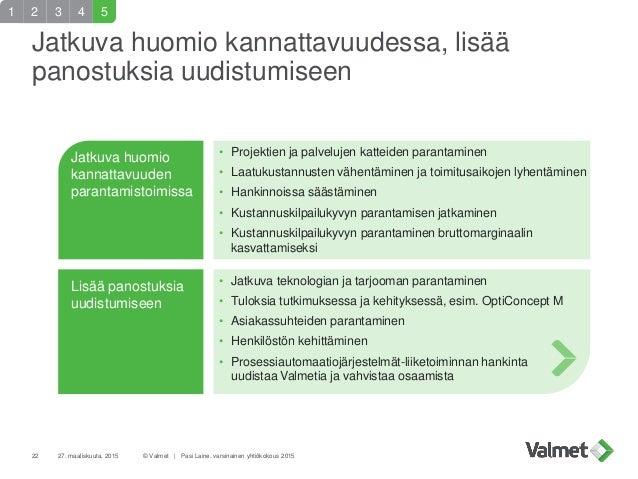 27. maaliskuuta, 201522 © Valmet   Pasi Laine, varsinainen yhtiökokous 2015 Jatkuva huomio kannattavuuden parantamistoimis...