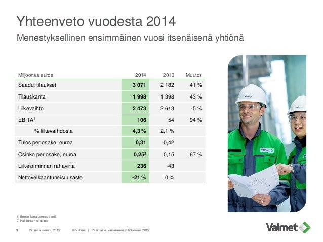 Yhteenveto vuodesta 2014 Menestyksellinen ensimmäinen vuosi itsenäisenä yhtiönä 27. maaliskuuta, 2015 © Valmet   Pasi Lain...