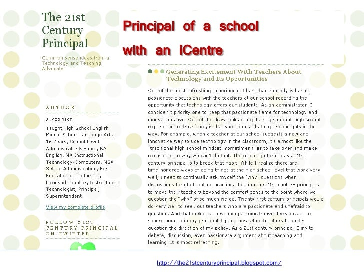 Your role in an iCentre  Blogging, Voicethread, Shelfari to encourage literary   learning  Teacher-TL collaboration on s...