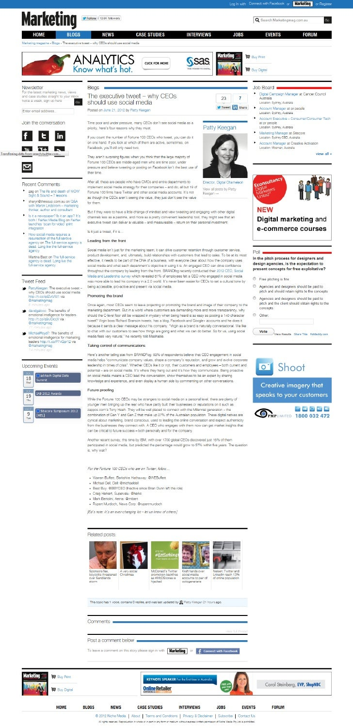 CEOs and Twitter Marketing Magazine article