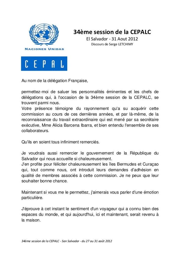 34ème session de la CEPALC                                              El Salvador - 31 Aout 2012                        ...