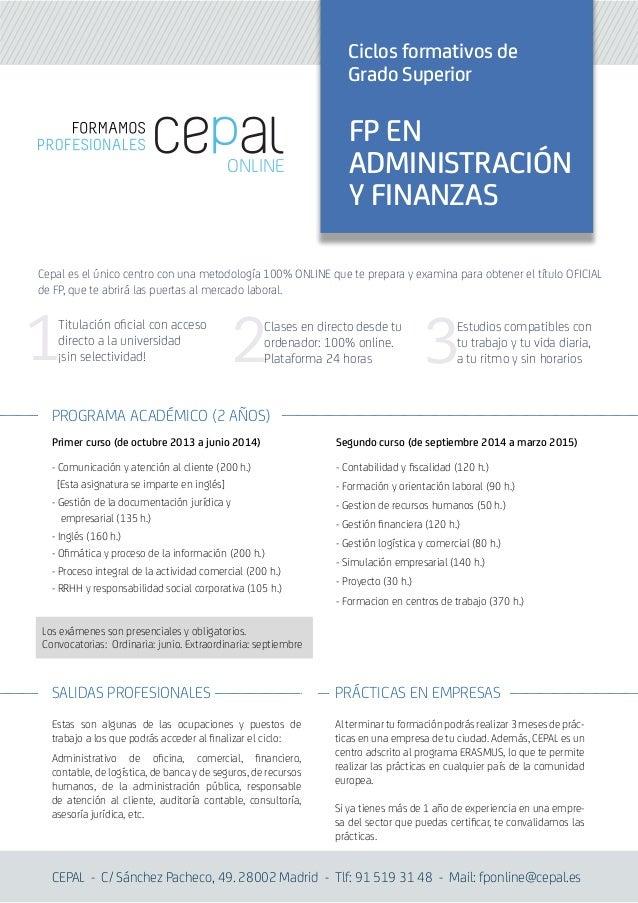 Administración Y Finanzas Cepal Fp Online