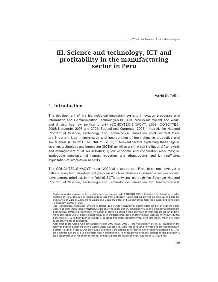 ICT in Latin America. A microdata analysis       III. Science and technology, ICT and        profitability in the manufact...