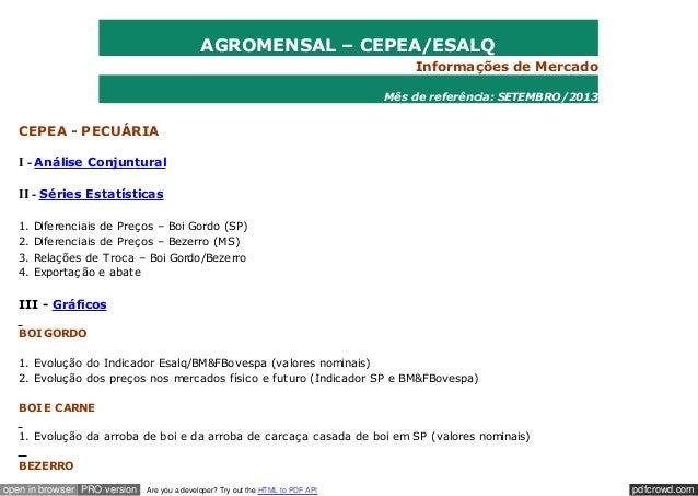 AGROMENSAL – CEPEA/ESALQ Informações de Mercado Mês de referência: SETEMBRO/2013  CEPEA - PECUÁRIA I - Análise Conjuntural...