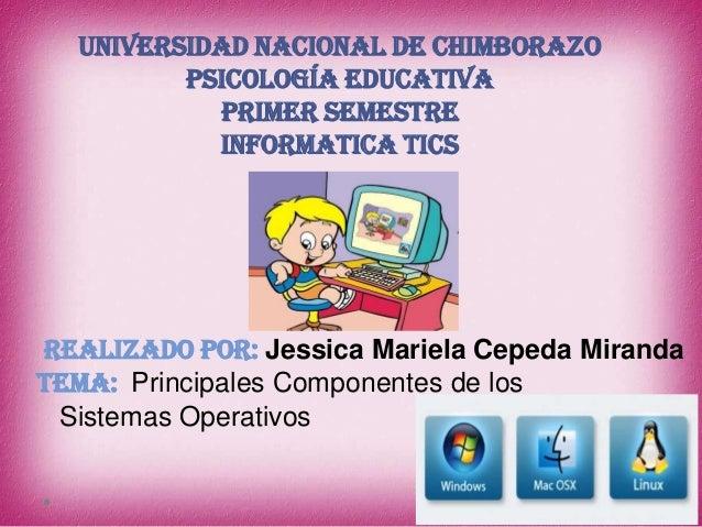 UNIVERSIDAD NACIONAL DE CHIMBORAZO PSICOLOGÍA EDUCATIVA PRIMER SEMESTRE INFORMATICA TICS  REALIZADO POR: Jessica Mariela C...